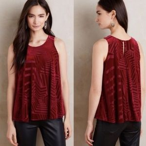 Anthropologie red textured velvet tank top